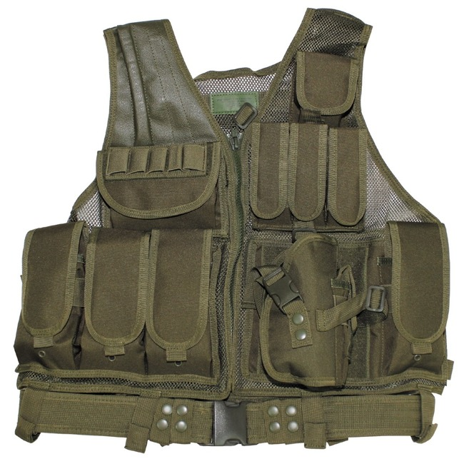 "Vest, ""USMC"", with belt, holster, var. pouches, OD"