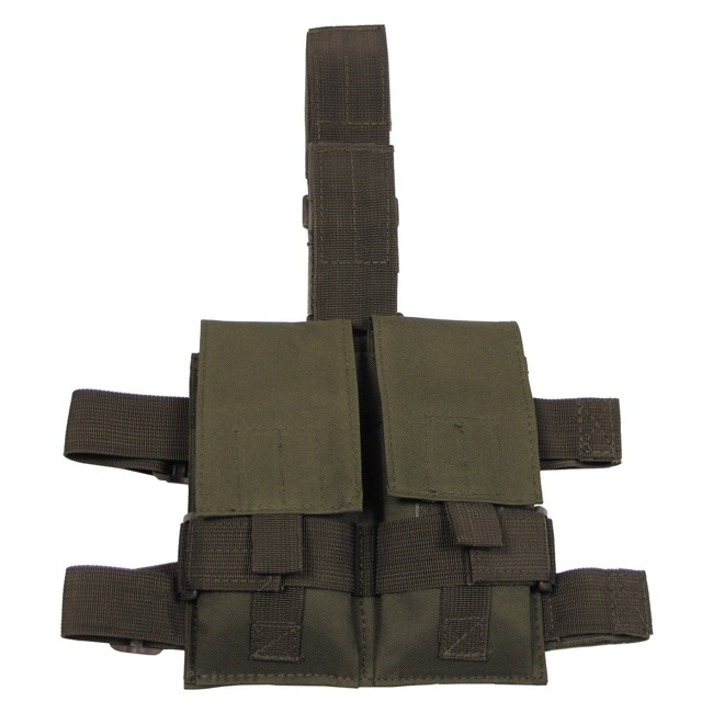 Tactical Leg Pouch, OD green, for 2 magazines
